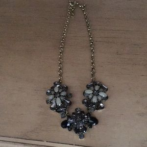 Grey and black floral statement necklace